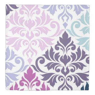 Flourish Damask Art I Purples Pinks Blues White Duvet Cover