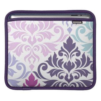 Flourish Damask Art I Purples Pinks Blues White iPad Sleeve