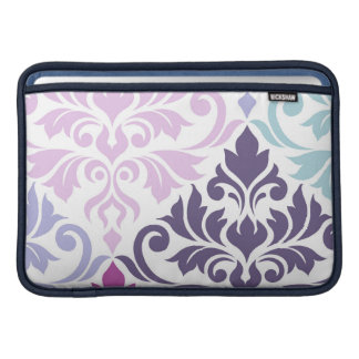 Flourish Damask Art I Purples Pinks Blues White MacBook Sleeve