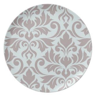 Flourish Damask Art I Taupe on Duck Egg Blue Plate