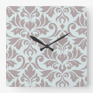 Flourish Damask Art I Taupe on Duck Egg Blue Square Wall Clock