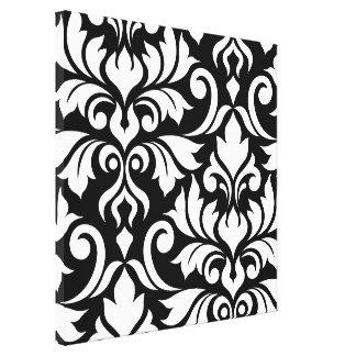 Flourish Damask Art I White on Black Canvas Print