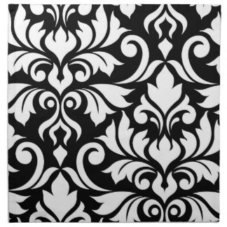 Flourish Damask Art I White on Black Napkin