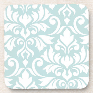 Flourish Damask Art I White on Duck Egg Blue Coaster
