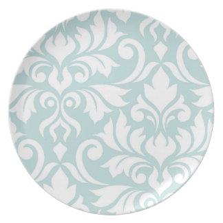 Flourish Damask Art I White on Duck Egg Blue Plate