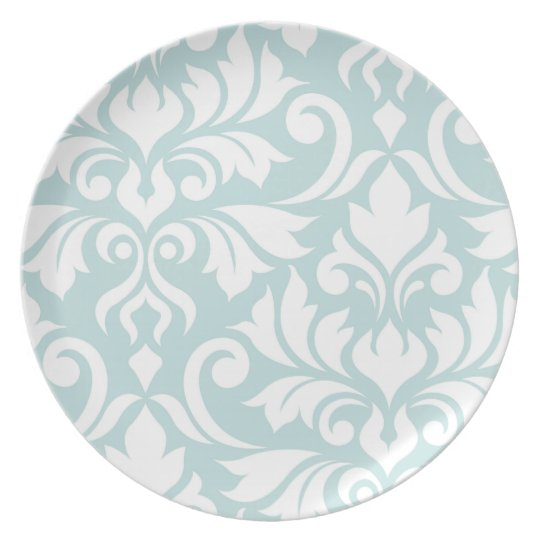 Flourish Damask Art I White on Duck Egg Blue Plate