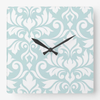 Flourish Damask Art I White on Duck Egg Blue Square Wall Clock
