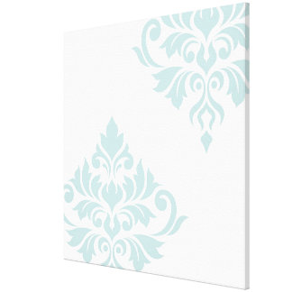 Flourish Damask Art II Duck Egg Blue on White Canvas Print