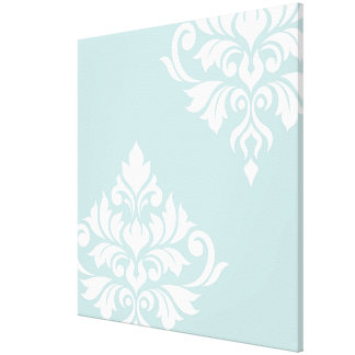 Flourish Damask Art II White on Duck Egg Blue Canvas Print