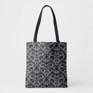 Flourish Damask Big Pattern Black on Gray Tote Bag