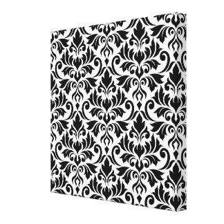Flourish Damask Big Pattern Black on White Canvas Print