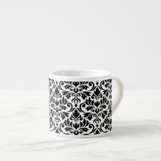 Flourish Damask Big Pattern Black on White Espresso Cup