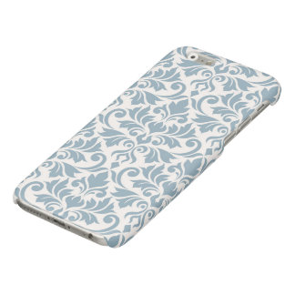 Flourish Damask Big Pattern Blue on Cream