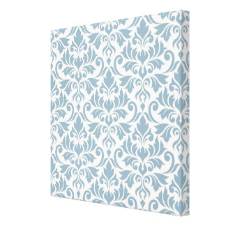 Flourish Damask Big Pattern Blue on Cream Canvas Print