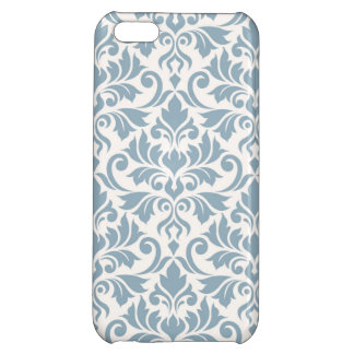 Flourish Damask Big Pattern Blue on Cream Cover For iPhone 5C