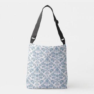 Flourish Damask Big Pattern Blue on Cream Crossbody Bag