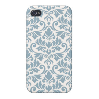 Flourish Damask Big Pattern Blue on Cream iPhone 4/4S Covers