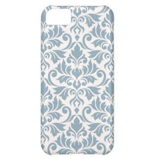Flourish Damask Big Pattern Blue on Cream iPhone 5C Cases