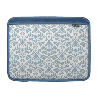 Flourish Damask Big Pattern Blue on Cream Sleeve For MacBook Air