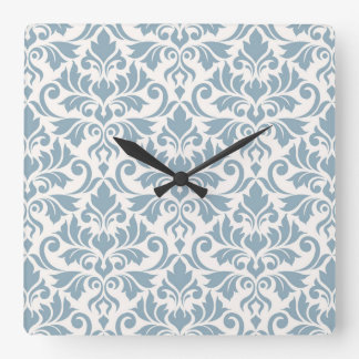 Flourish Damask Big Pattern Blue on Cream Square Wall Clock
