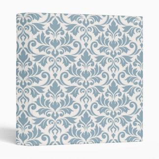 Flourish Damask Big Pattern Blue on Cream Vinyl Binder