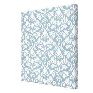 Flourish Damask Big Pattern Cream on Blue Canvas Print