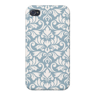 Flourish Damask Big Pattern Cream on Blue iPhone 4 Cover