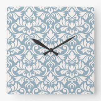 Flourish Damask Big Pattern Cream on Blue Square Wall Clock