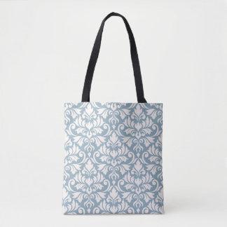 Flourish Damask Big Pattern Cream on Blue Tote Bag