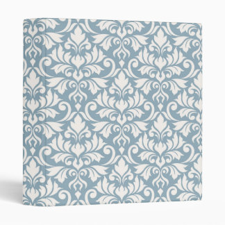 Flourish Damask Big Pattern Cream on Blue Vinyl Binder