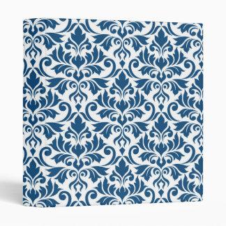 Flourish Damask Big Pattern Dk Blue on White Binders
