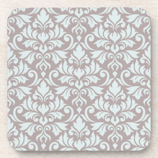 Flourish Damask Big Pattern Duck Egg Blue on Taupe Coaster