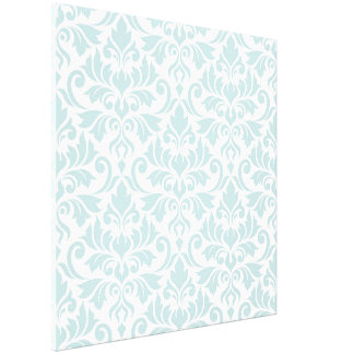 Flourish Damask Big Pattern Duck Egg Blue on White Canvas Print