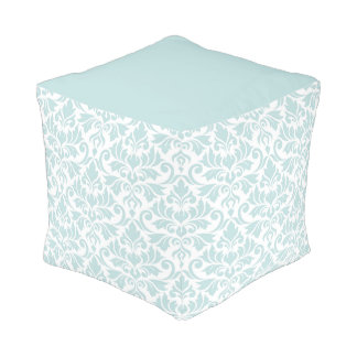 Flourish Damask Big Pattern Duck Egg Blue on White Pouf
