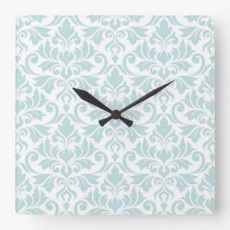 Flourish Damask Big Pattern Duck Egg Blue on White Square Wall Clock