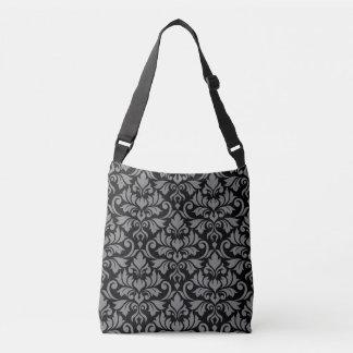 Flourish Damask Big Pattern Gray on Black Crossbody Bag