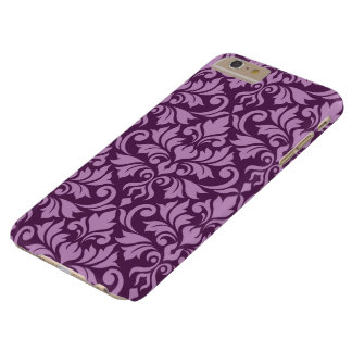 Flourish Damask Big Pattern Pink on Plum Barely There iPhone 6 Plus Case