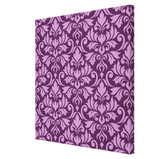 Flourish Damask Big Pattern Pink on Plum Canvas Print
