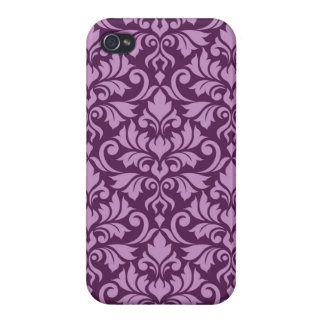 Flourish Damask Big Pattern Pink on Plum Case For The iPhone 4