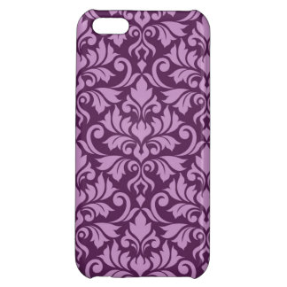 Flourish Damask Big Pattern Pink on Plum Cover For iPhone 5C
