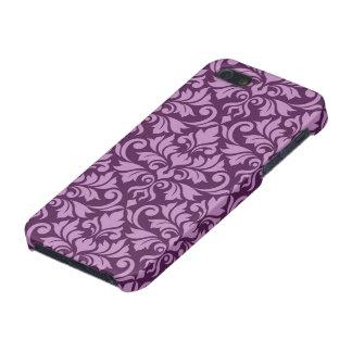 Flourish Damask Big Pattern Pink on Plum iPhone 5/5S Cases