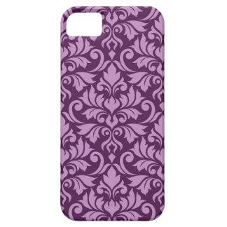 Flourish Damask Big Pattern Pink on Plum iPhone 5 Covers