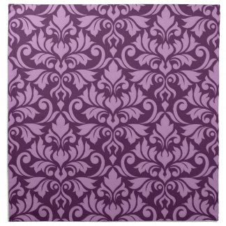 Flourish Damask Big Pattern Pink on Plum Napkin