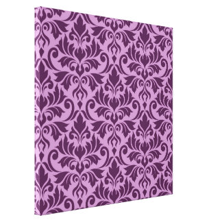 Flourish Damask Big Pattern Plum on Pink Canvas Print