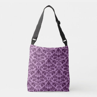 Flourish Damask Big Pattern Plum on Pink Crossbody Bag