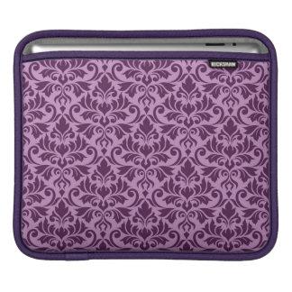Flourish Damask Big Pattern Plum on Pink iPad Sleeve