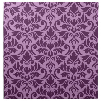 Flourish Damask Big Pattern Plum on Pink Napkin