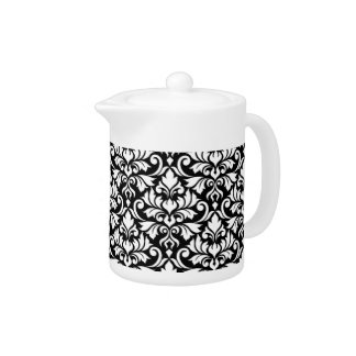 Flourish Damask Big Pattern White on Black