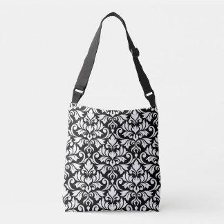 Flourish Damask Big Pattern White on Black Crossbody Bag