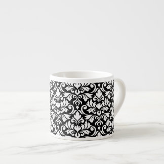 Flourish Damask Big Pattern White on Black Espresso Cup